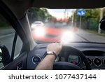 road pirate causes an accident | Shutterstock . vector #1077437144