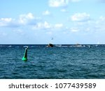 a lonely green buoy in the sea | Shutterstock . vector #1077439589