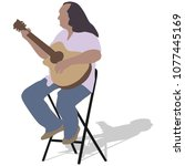 music man sitting on the chair... | Shutterstock .eps vector #1077445169