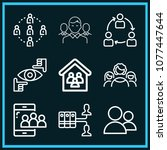 set of 9 group outline icons... | Shutterstock .eps vector #1077447644