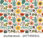 floral seamless pattern | Shutterstock .eps vector #1077450311