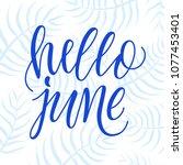 hello june  modern calligraphy... | Shutterstock .eps vector #1077453401