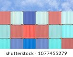 colorful stack of container... | Shutterstock . vector #1077455279