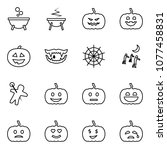 flat vector icon set   witch... | Shutterstock .eps vector #1077458831
