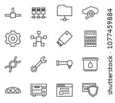 flat vector icon set   connect...   Shutterstock .eps vector #1077459884