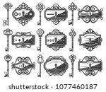 antique metal keyholes set with ... | Shutterstock .eps vector #1077460187