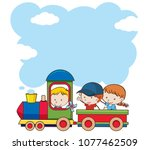 Kids On Train On White...