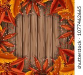 autumn leaf on wooden template... | Shutterstock .eps vector #1077462665