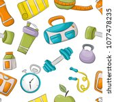 fitness and healthy lifestyle.... | Shutterstock .eps vector #1077478235