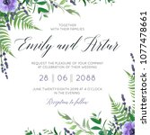 wedding floral invite ... | Shutterstock .eps vector #1077478661
