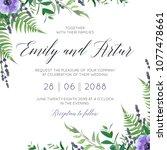 wedding floral invite ... | Shutterstock .eps vector #1077478661
