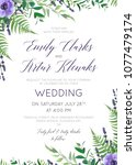 wedding floral invite ... | Shutterstock .eps vector #1077479174