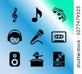 vector icon set about music... | Shutterstock .eps vector #1077479525