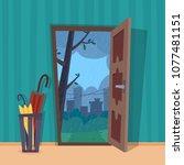 open door into rain city view.... | Shutterstock .eps vector #1077481151