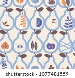 seamless pattern with pears and ... | Shutterstock .eps vector #1077481559