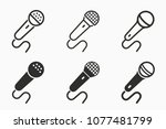vector microphone icon. black... | Shutterstock .eps vector #1077481799