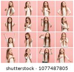 the collage of different human...   Shutterstock . vector #1077487805