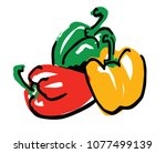 three colors peppers simple...   Shutterstock .eps vector #1077499139