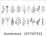 vector set of hand drawn...   Shutterstock .eps vector #1077507521