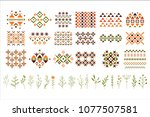 vector set of colorful ethnic... | Shutterstock .eps vector #1077507581