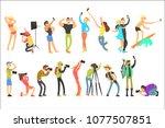 flat vector set of people... | Shutterstock .eps vector #1077507851