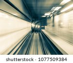 motion blurred railroad tracks... | Shutterstock . vector #1077509384