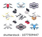 remote control flying copter... | Shutterstock .eps vector #1077509447