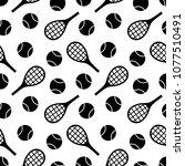 tennis print. seamless vector... | Shutterstock .eps vector #1077510491