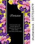 beautiful floral frame on black ... | Shutterstock .eps vector #1077514979