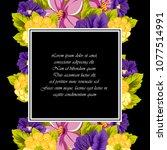 beautiful floral frame on black ... | Shutterstock .eps vector #1077514991