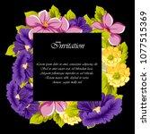 beautiful floral frame on black ... | Shutterstock .eps vector #1077515369