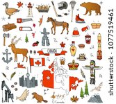 hand drawn doodle canada icons... | Shutterstock .eps vector #1077519461