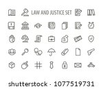 law and justice icons set line...   Shutterstock .eps vector #1077519731