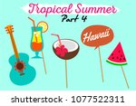 set of printable tropical party ... | Shutterstock .eps vector #1077522311