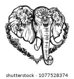 decorative vector elephant with ... | Shutterstock .eps vector #1077528374