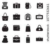 bags icons. black flat design.... | Shutterstock .eps vector #1077532661