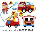 set of firefighters cartoon... | Shutterstock .eps vector #1077535769