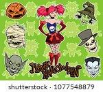 cartoon halloween illustration... | Shutterstock .eps vector #1077548879
