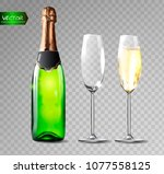 champagne bottle and champagne... | Shutterstock .eps vector #1077558125