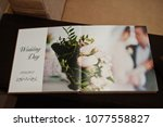 open pages of wedding book or... | Shutterstock . vector #1077558827