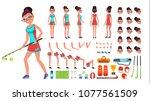 field hockey player female...   Shutterstock .eps vector #1077561509