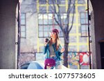 stylish girl with coffee... | Shutterstock . vector #1077573605