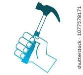 hand holding hammer tool repair | Shutterstock .eps vector #1077578171