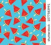 seamless watermelon pattern... | Shutterstock .eps vector #1077583991