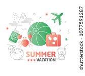 illustration summer flat lines | Shutterstock .eps vector #1077591287