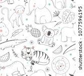 Stock vector simple vector pattern with animals cute children s wallpaper african animals elephant bigem 1077596195
