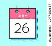 vector calendar icon. flat and... | Shutterstock .eps vector #1077600659