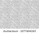 3d white paper art check spiral ... | Shutterstock .eps vector #1077604265