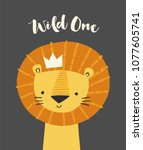 cute lion in a crown. wild one... | Shutterstock .eps vector #1077605741