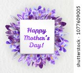 mothers woman day greeting card ... | Shutterstock .eps vector #1077609005